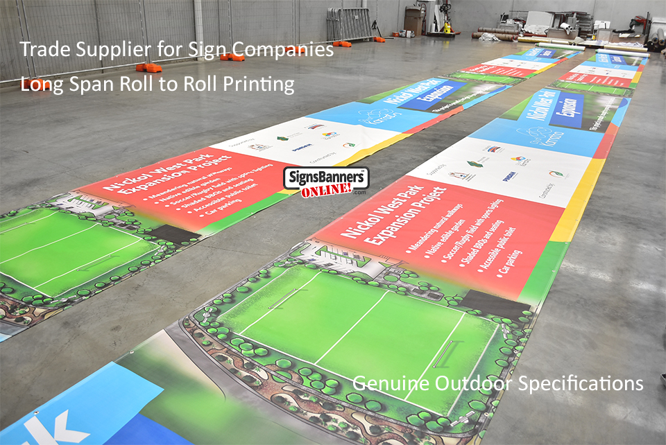 Long Span Roll to Roll Printing. Genuine Trade Printers.