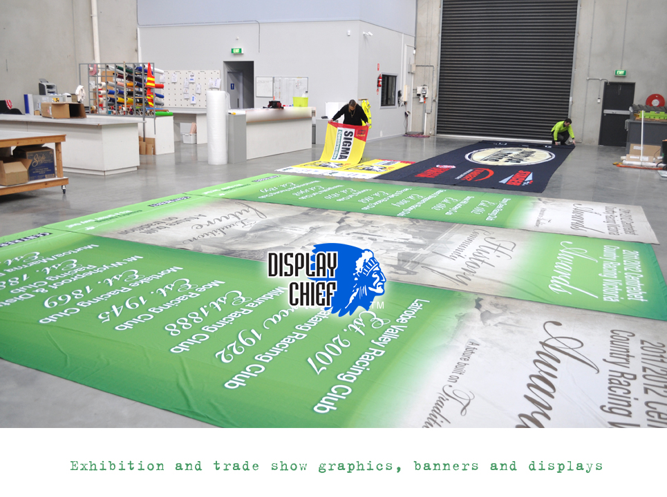Trade show graphics Large hall and exhibition display graphics for trade shows, boat shows, marquee events and major exhibitions such as home show