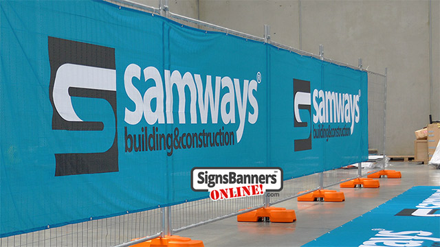 Construction firm branding, the banner identifies the vendor and strengthens the branding of the firm.
