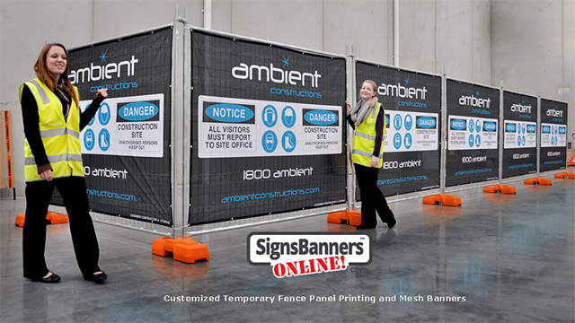 temporary fencing panels are being utilized for advertising space