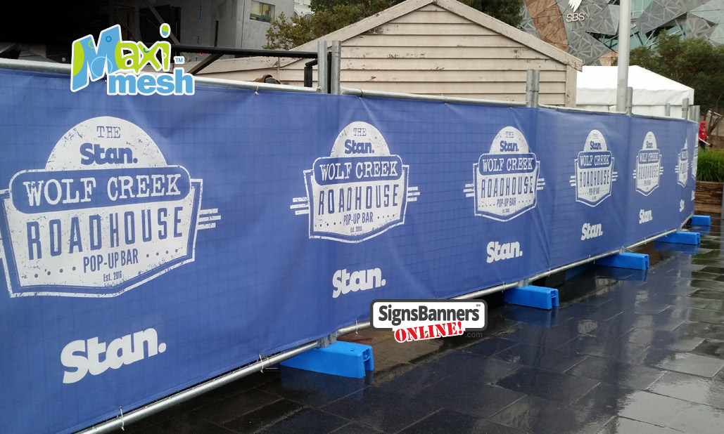 As used by leading promotional and marketing firms in Australia, Maxi-Mesh offers superb print coverage and privacy screening for a printed temporary fence banner sign display. Federation Square Melbourne
