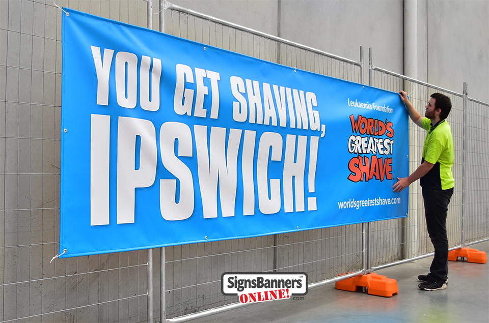 Example of custom banner signs for Ipswich QLD