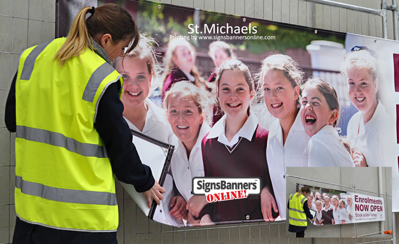 Factory photo showing the printing by Signs Banners Online photographic render quality on a pvc vinyl banner sign for St.Michaels (Ireland)