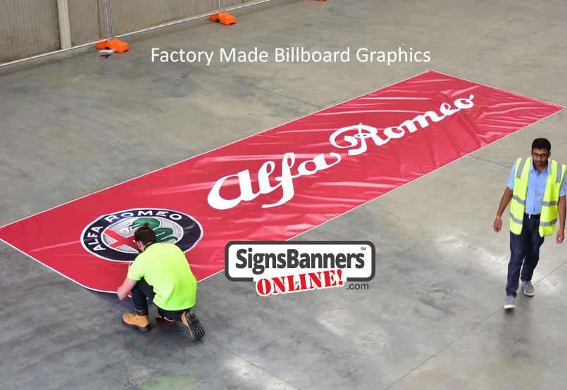 Large billboard printing supplier showing the manufacturing of a printed billboard for outdoor advertising