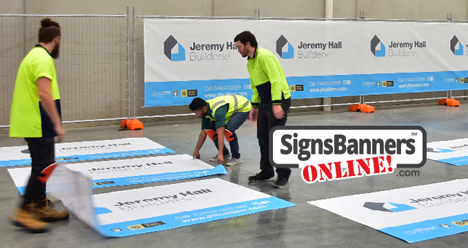 Mesh banners as used by builders and contractor firms.