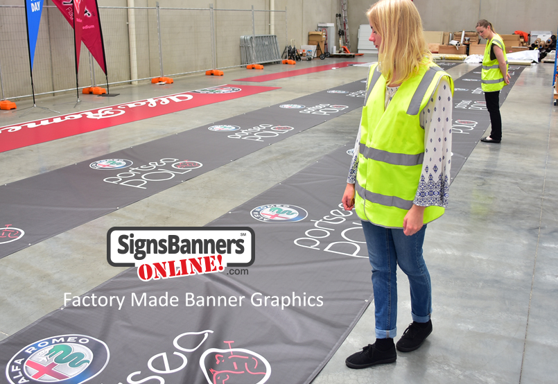 Second Example of banner sign graphic being made in the factory