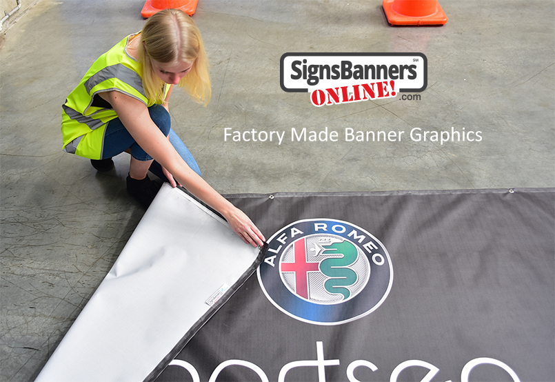 Example of Alfa Romeo banner sign graphic being made in the factory