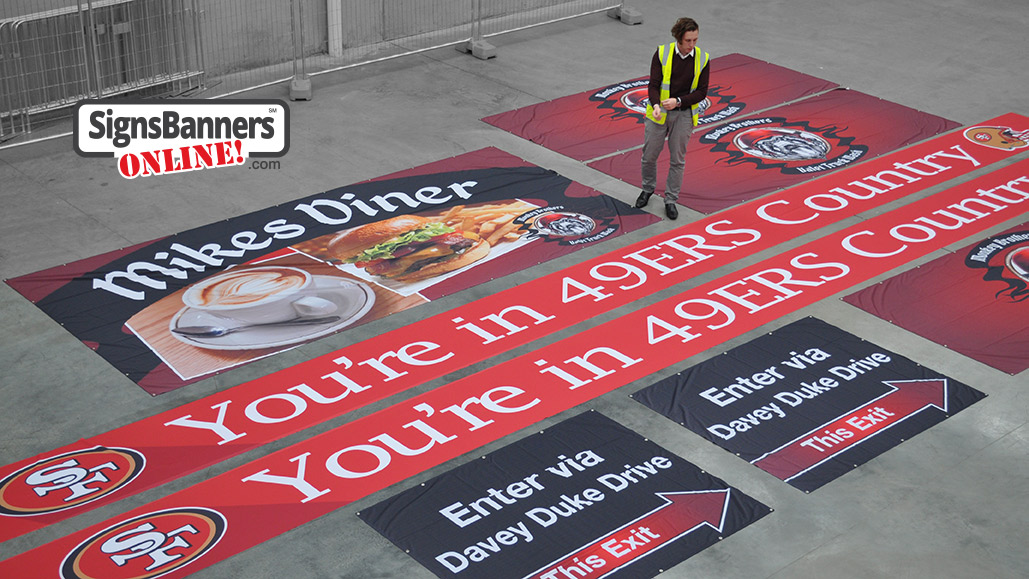 Now you're in 49ers country - large fan banners