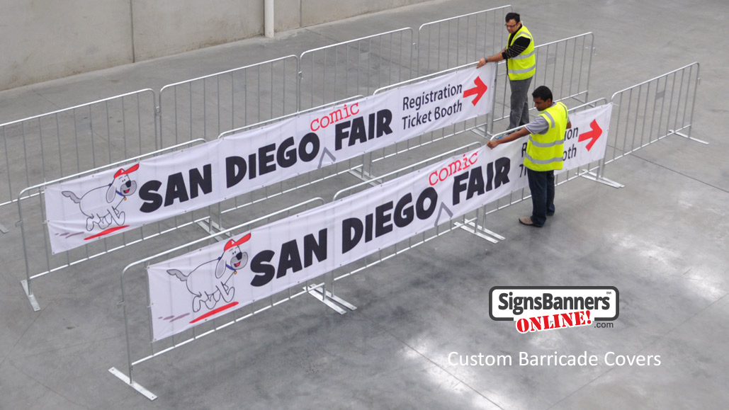 San Diego custom barricade covers being manufactured for comic fair