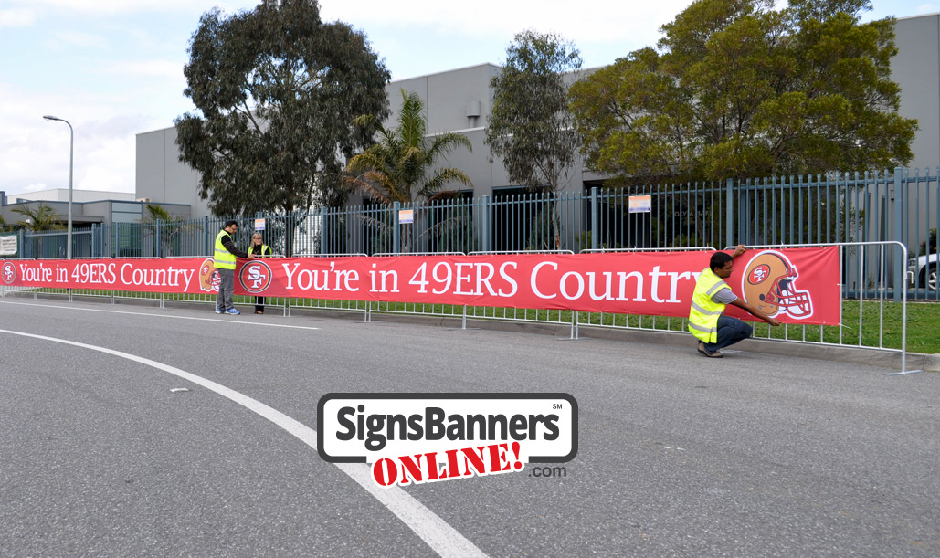 Event sign supplies - San Francisco roadside sign fencing and barrier covers.