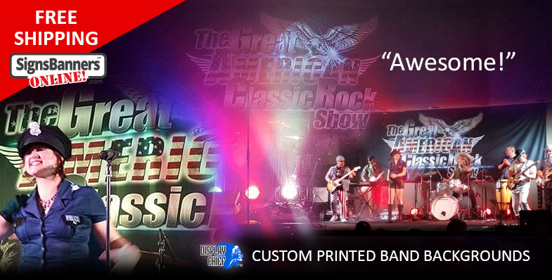 American Rock Show background custom printed band banner used at gigs around the venues as they travel. Soft signage fabric printing onto non glare material printed banner sign.