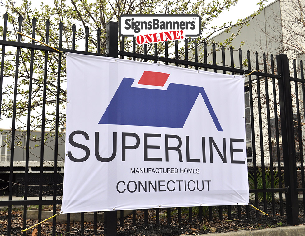 Superline contractor banner sign (roof design) fitted outside whilst at the construction site