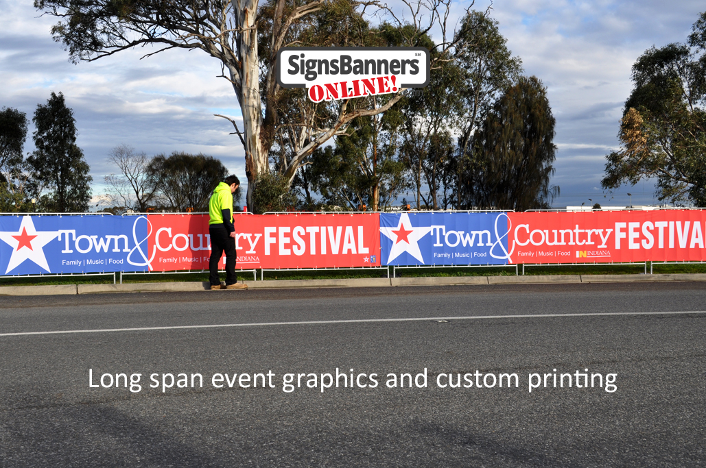 A quick inspection of the erected banner signs on the crowd barrier fences printed by Signs Banners Online dot com