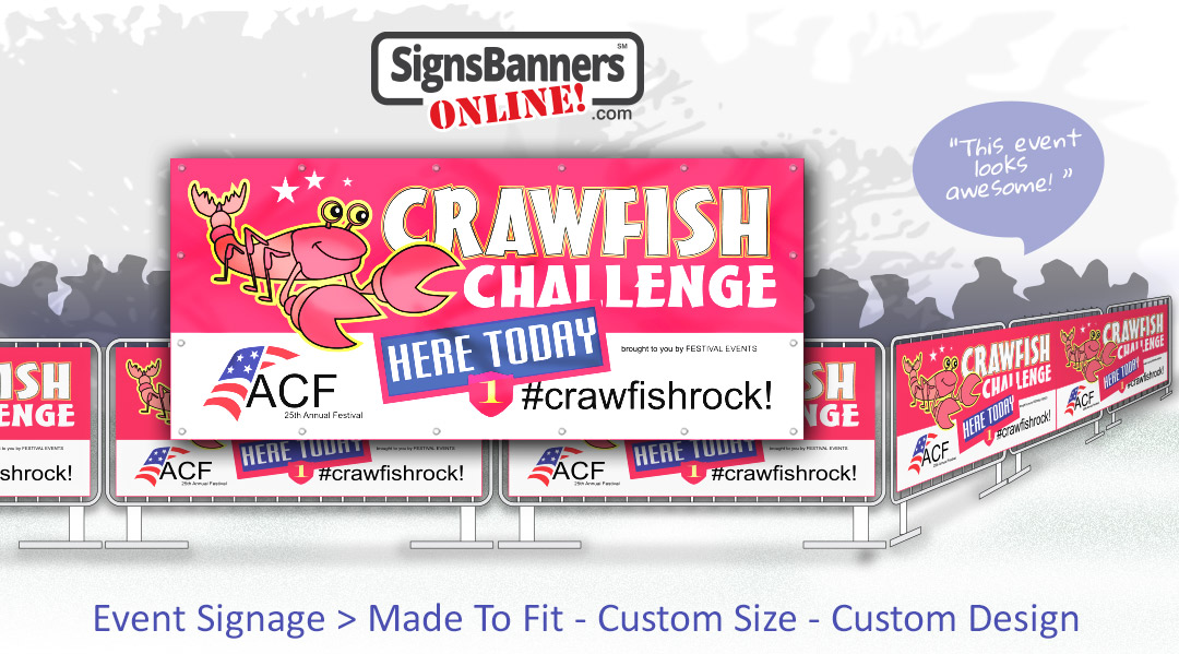 Concept design for Cajun festival events (printed banner signage on crowd control fence hire rental barriers)