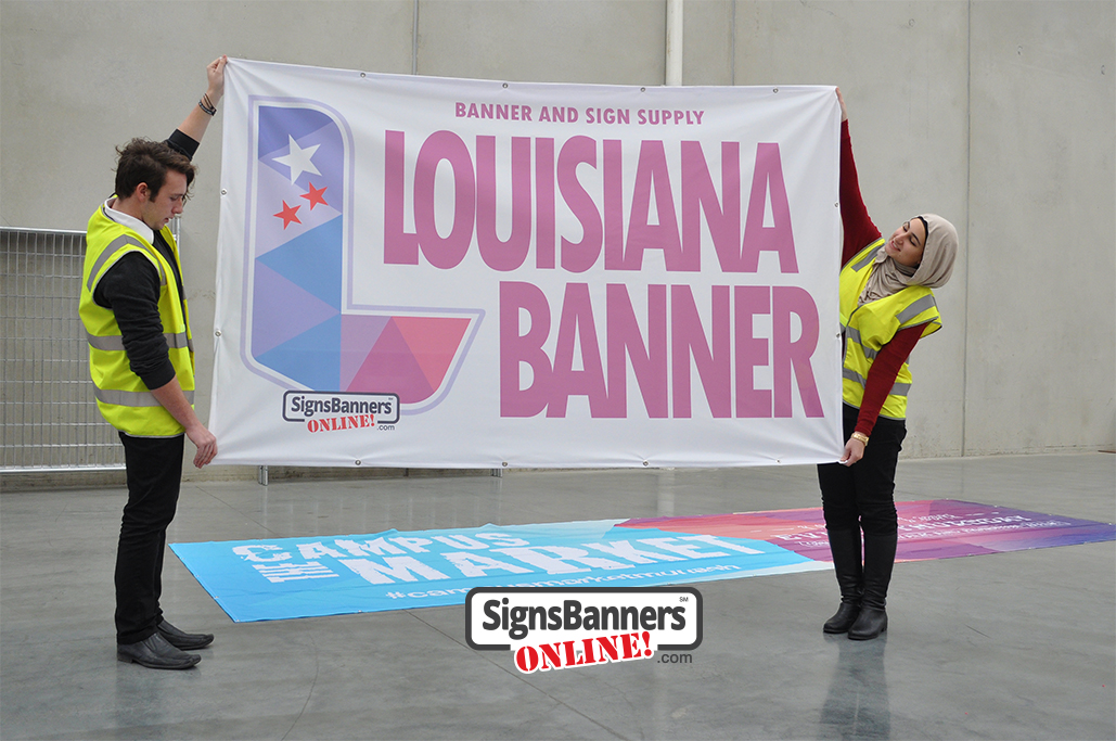 Louisiana Banner, people holding the Louisiana Banner