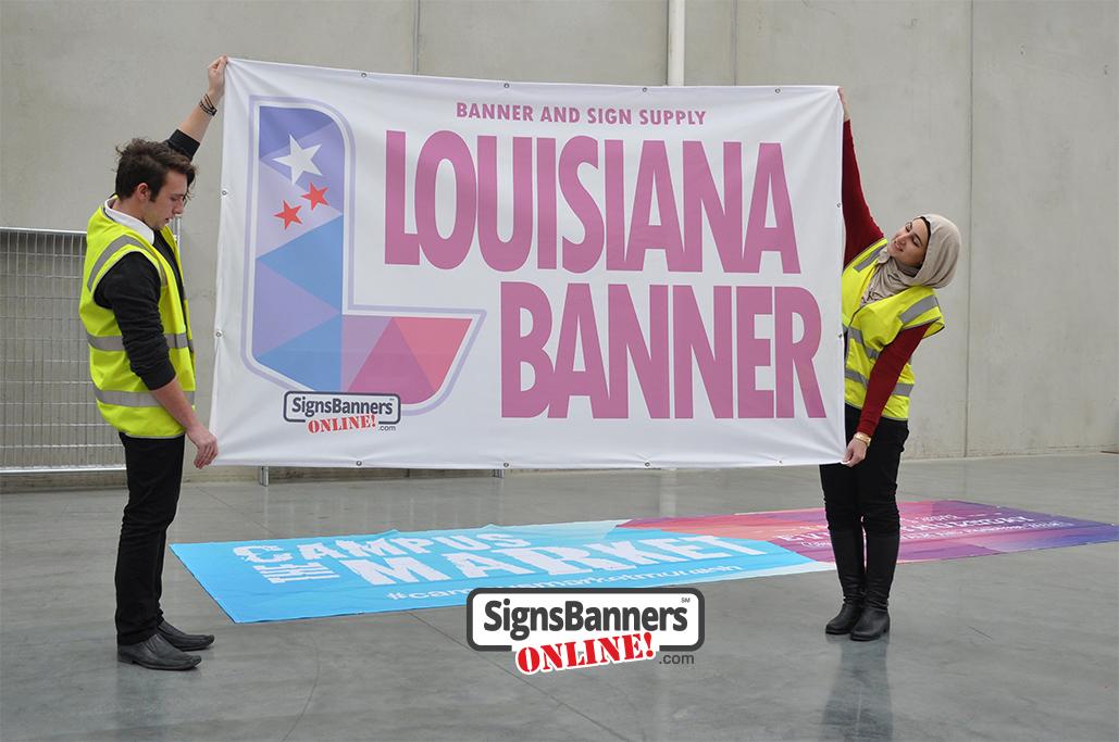 Louisiana Banner, people holding the Louisiana Banner
