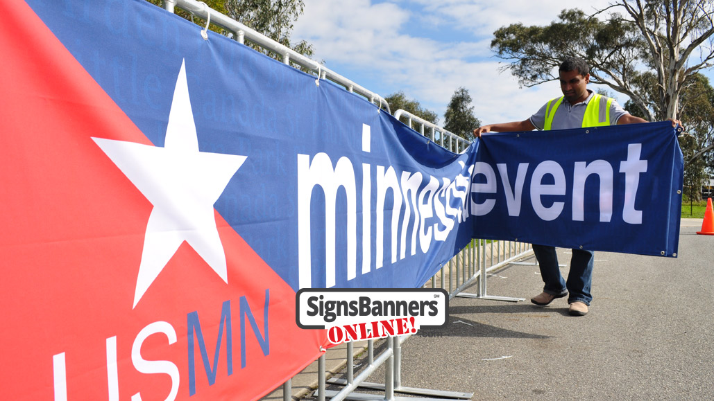 Branding and event signage for your portable barricade signage themes and sponsoring fair partners.
