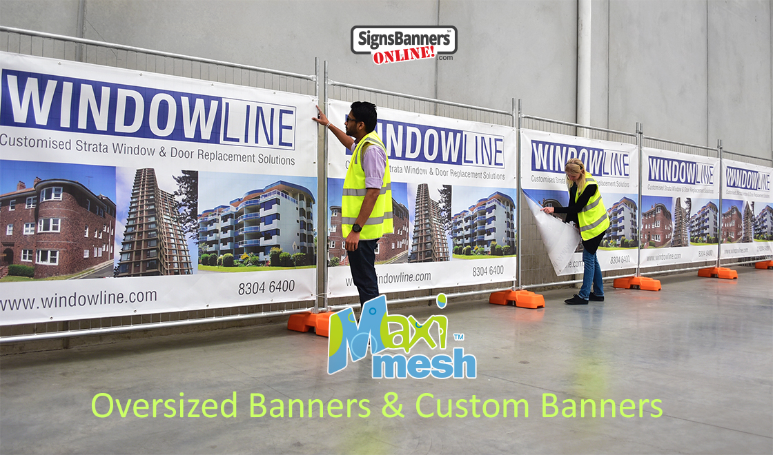 Supplies and custom make oversized banner signs and screen fence covers