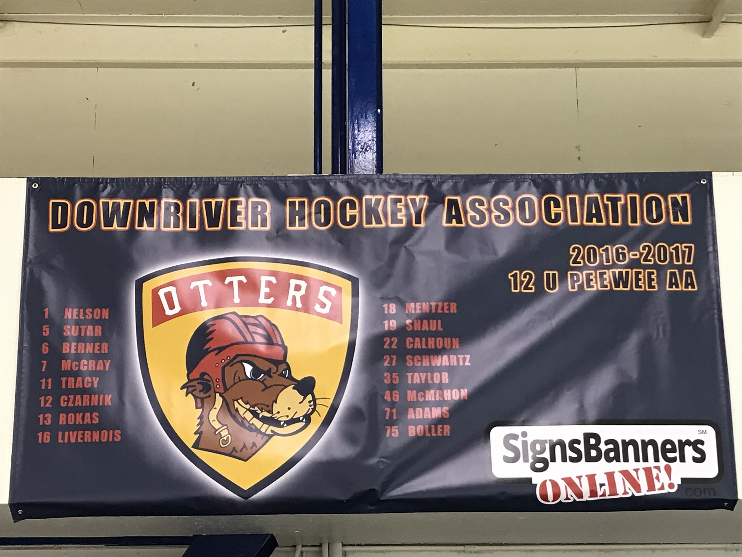 Thank you so very much to Signs and Banners Online for our awesome team banner which now hangs proudly in our rink. From the design process to the product arriving at my door, everything was flawless. The communication was great even when I needed a few changes made. The changes were made quickly and accurately. Thanks again from the Downriver Hockey Association and the 12U Downriver Otters Red Team. You guys rock!
