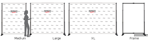 Comparison diagram for selfie wall sizes