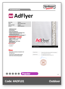 AdFlyer Material Data Sheet