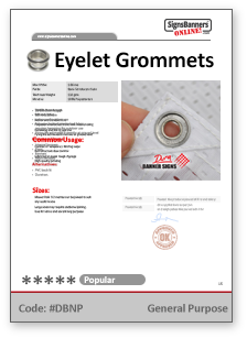 Grommet Eyelets Tech Data Sheet
