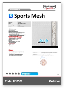 Sports Mesh Tech Data Sheet