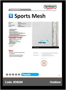 Sports Mesh Material Data Sheet