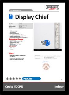 Display Chief Material Data Sheet