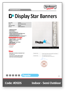 Display Start Banners Material Data Sheet