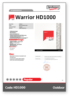 Warrior HD1000 Material Data Sheet