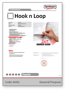 Hook n Loop Generic Tech Data Sheet