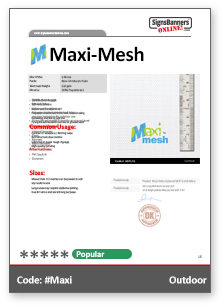 Maxi Mesh Tech Data Sheet