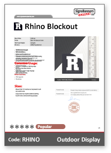Rhino Blockout Material Data Sheet