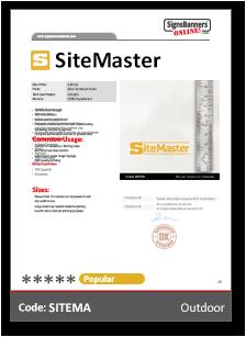 SiteMaster Vinyl PVC Material Data Sheet