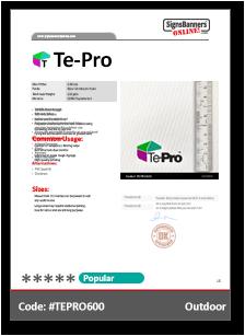 Te-Pro Material Data Sheet