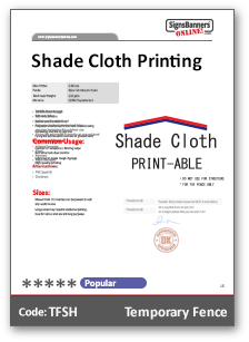 Shade Cloth Material Data Sheet