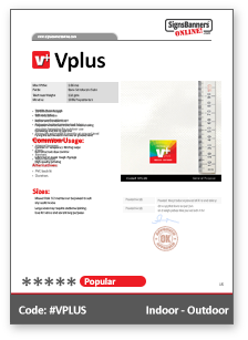 Vplus Vinyl PVC Material Data Sheet