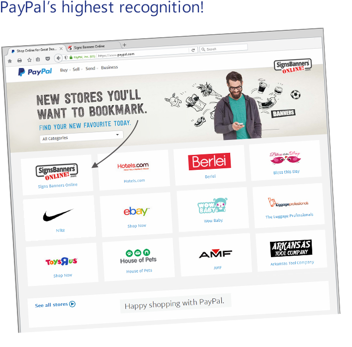 Recognition Award, Signs Banners Online is awarded PayPal