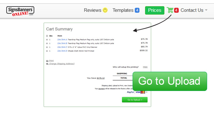 Cart summary page, then click Go to Upload button.